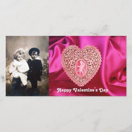 CUPID LACE HEART SILK FUCHSIA CLOTH , Pink Red Holiday Card
