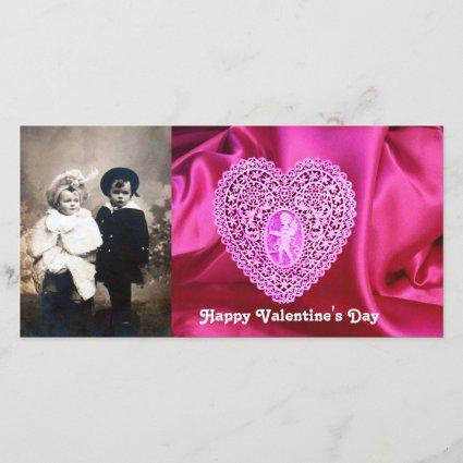 CUPID LACE HEART SILK FUCHSIA CLOTH , Pink Violet Holiday Card