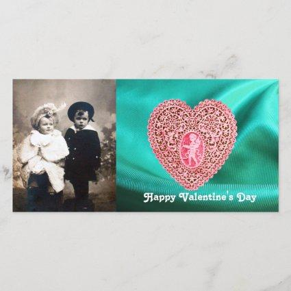 CUPID LACE HEART SILK GREEN BLUE CLOTH, Pink Red Holiday Card