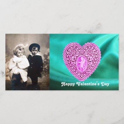 CUPID LACE HEART SILK GREEN BLUE CLOTH,Pink Violet Holiday Card