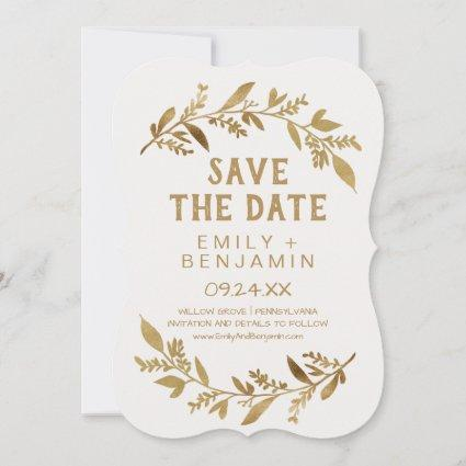 Curved Branches   Gold Save the Date Cards
