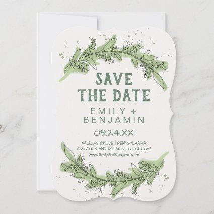 Curved Branches   Greenery Save the Date Card