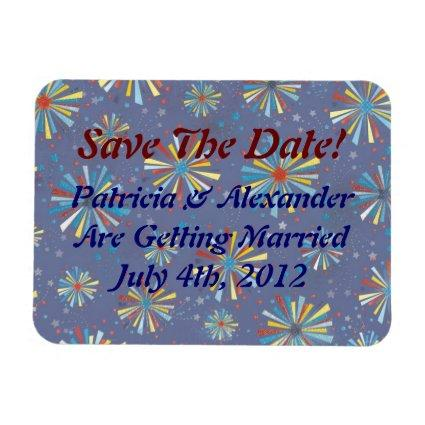 Custom 4th of July Firework Bursts Save the Date M Magnet
