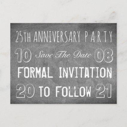 Custom Anniversary Party Save The Date Chalkboard Announcement