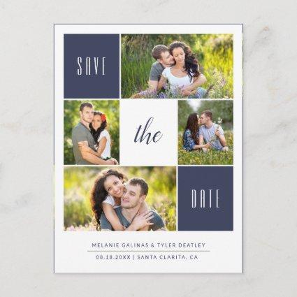 Custom Color 4 Photo Save the Date Cards