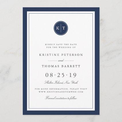 Custom Color Monogram Save the Date Card
