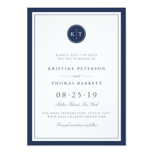 Custom Color Monogram Save the Date Cards