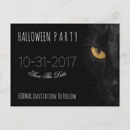 Custom Halloween Party Save The Date Black Cat Announcement