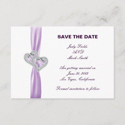 Custom Hearts Lavender Ribbon Save The Date Card