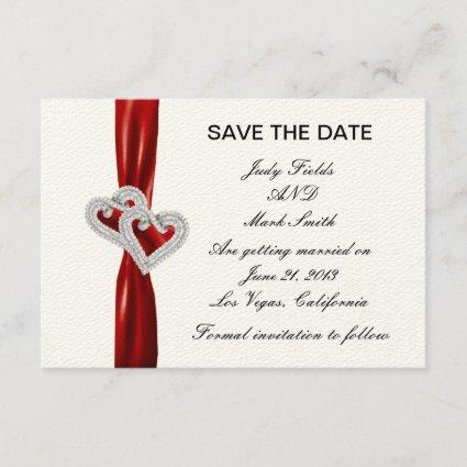 Custom Hearts Red Ribbon Save The Date