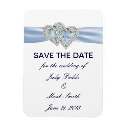 Custom Ice Blue Hearts Save The Date Magnet