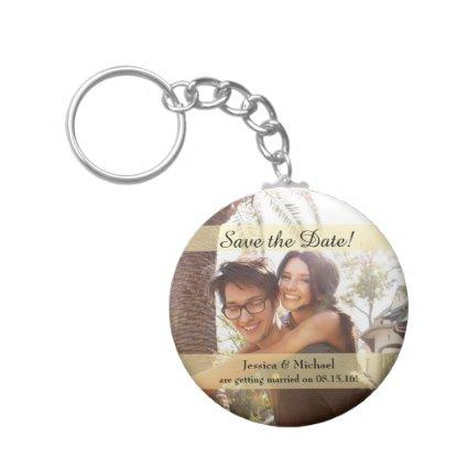 Custom Photo Wedding Save the Date Keychain