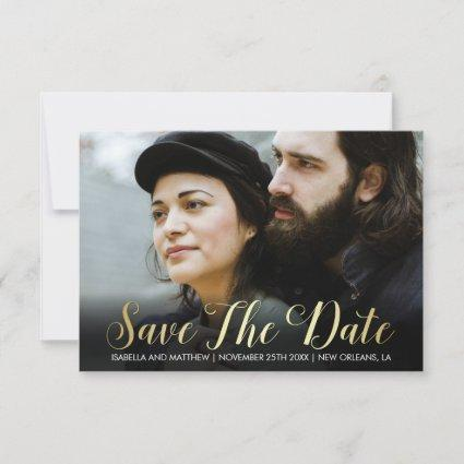 Custom Photography | Gold Gradient Save The Date