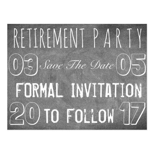 custom retirement party save the date chalkboard cards save the