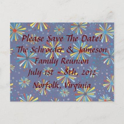 Custom Reunion Fireworks Bursts Save The Date Announcement