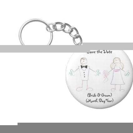 Custom Save the Date Keychain- Cartoon Couple Keychain
