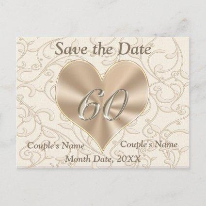 Custom Save the Date Post Cards 60th Anniversary