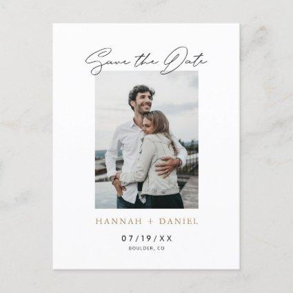 Custom Simple Modern Gold Save the Date Photo Invitation
