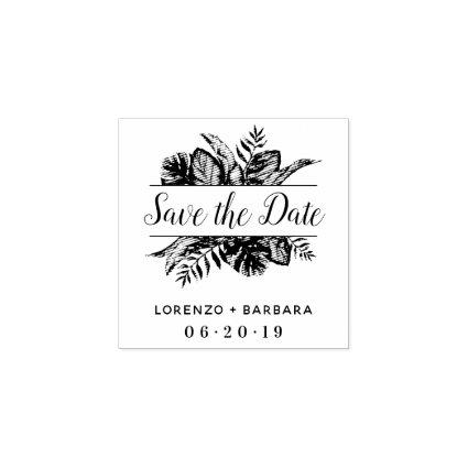 Custom Tropical Leaves Wedding Save The Date Rubber Stamp