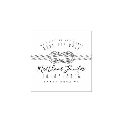 Custom Tying The Knot Rustic Script Save The Date Rubber Stamp
