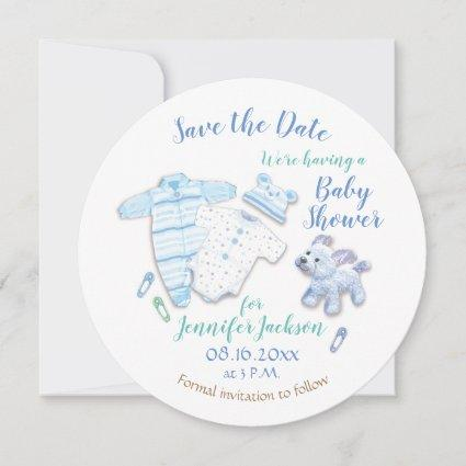 Cute Baby Boy Shower, Dog and Balloon Save The Date