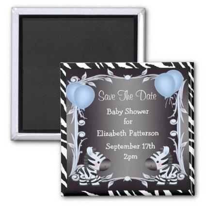 Cute Blue Zebras Save The Date Baby Shower Magnet