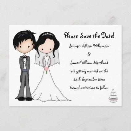 Cute Bride and Groom Cartoon Save the Date