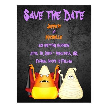 Cute Candy Corn Halloween Wedding Save the Date Magnetic Invitation