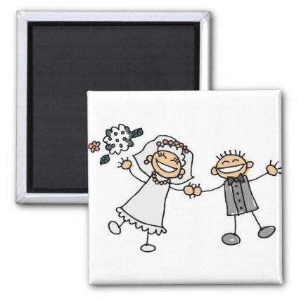 Cute Cartoon Artistic Wedding Save The Date Magnets
