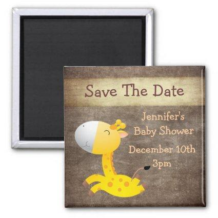 Cute Giraffe Save The Date Baby Shower Magnet