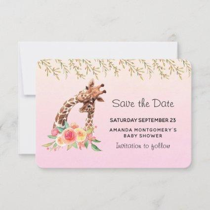 Cute Giraffe Watercolor Mom & Babe Baby Shower Save The Date