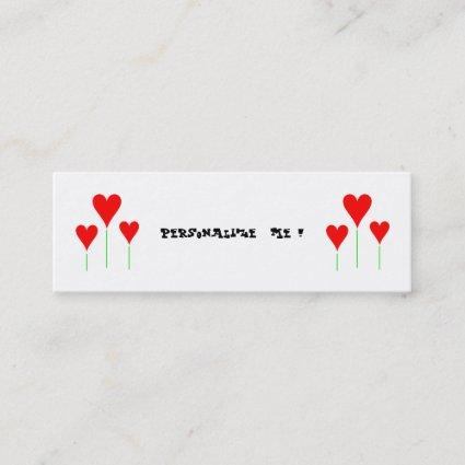 Cute Girly Floral Wedding Hearts/BusinessCardChic Mini Business Card