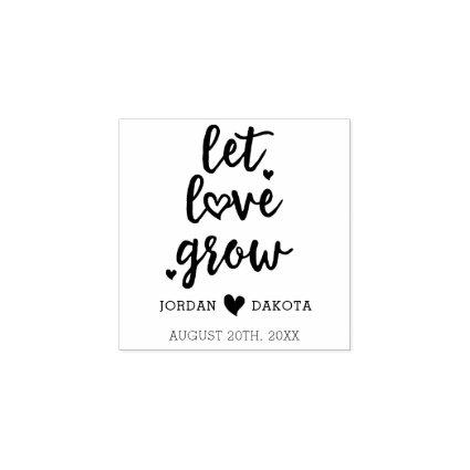 Cute Let Love Grow | Wedding Hearts Save The Date Rubber Stamp