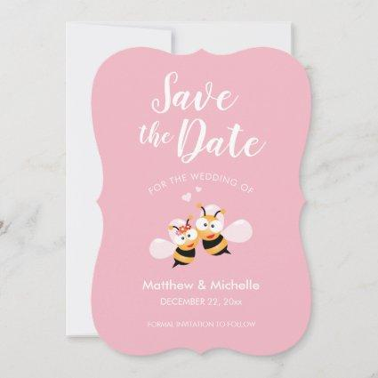 Cute Meant To Bee Elegant Pink Wedding Save The Date