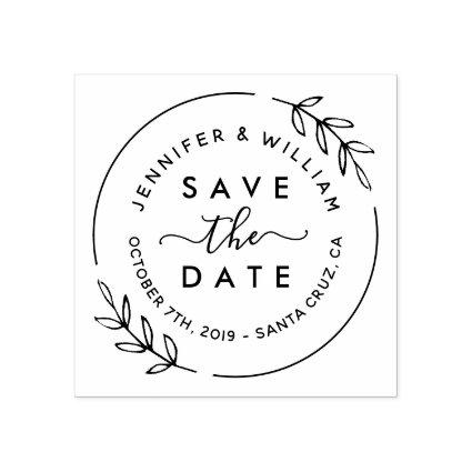 Cute Modern Wreath & Stylish Script Save The Date Rubber Stamp