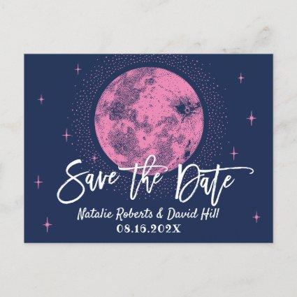 Cute Moon & Stars Navy Blue Wedding Save the Date Announcement