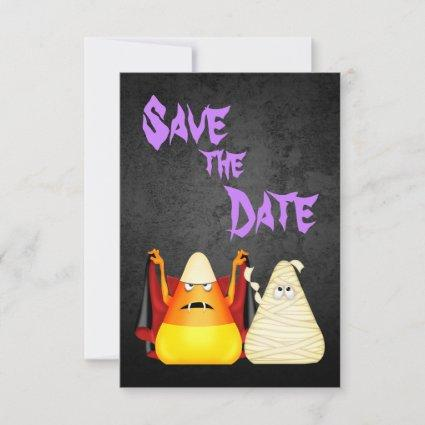 Cute n Spooky Candy Corn Couple Halloween Wedding Save The Date