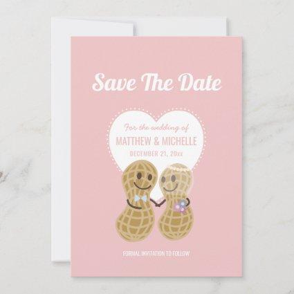 Cute Nuts About Each Other Pink Whimsical Wedding Save The Date