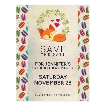 Cute Orange Fox with Wreath Save the Date Cards
