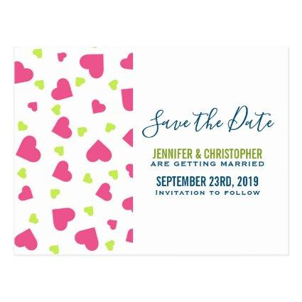 Cute Pink and Green Hearts Pattern