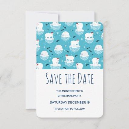 Cute Polar bears in Santa Hats Christmas Party Save The Date