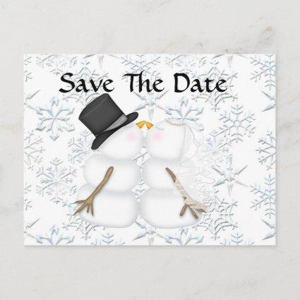 CUTE Save the Date BRIDE & GROOM Snowman Announcement
