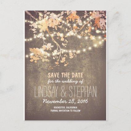 cute string lights rustic save the date Cards