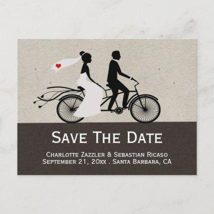 Cute Tandem Bike Bride And Groom Wedding Announcement