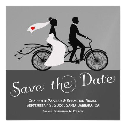 Cute Tandem Bike Bride And Groom Wedding Magnetic Invitation