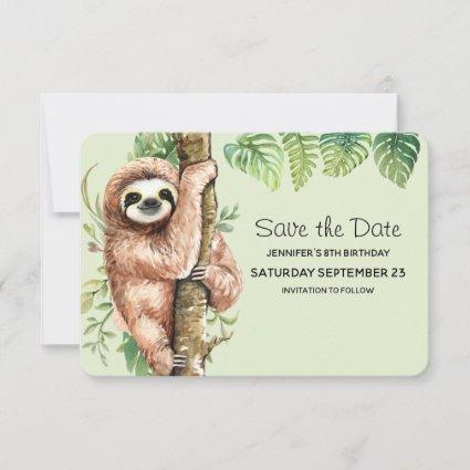 Cute Watercolor Sloth & Tropical Leaves Save The Date