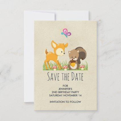 Cute Woodland Creatures Cartoon Illustration Save The Date