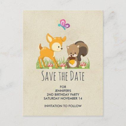 Cute Woodland Creatures Cartoon Save the Date Invitation
