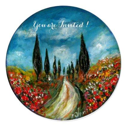 CYPRESS TREES AND POPPIES IN TUSCANY, red blue Invitation