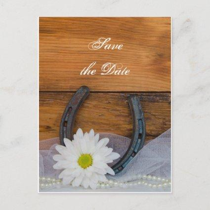Daisy and Horseshoe Western Wedding Save the Date Announcement